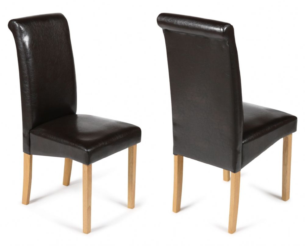 Brown Leather Chairs Pair Of Brown Roma Faux Leather Chairs With Oak Legs 1 2 Price Deal